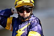 Jockey Samantha Collett prior to Race 9, Vodafone NZ Derby (G1) 2400.<br /> Vodafone Derby Day at Ellerslie Race Course, Auckland on Sunday 7th March 2021 during lockdown level 2.<br /> Copyright photo: Alan Lee / www.photosport.nz