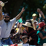 Pakistani fans celebrate a wicket during the match between Australia and Pakistan in the Super 6 stage of the ICC Women's World Cup Cricket tournament at Bankstown Oval, Sydney, Australia on March 16 2009, Australia won the match by 107 runs. Photo Tim Clayton