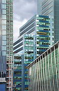 Ropemaker Place office building and on the right hand site City Point.<br /> <br /> Architect: Arup Associates