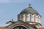 Greece, Central Greece , Macedonia, Edessa the roof of the Cathedral. A stark can be seen nesting by the crusafix