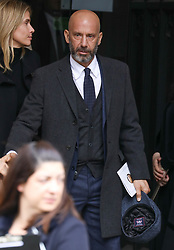 Gianluca Vialli departs from Ray Wilkins' memorial service at St Luke's church in Chelsea.<br /> <br /> 1 May 2018.<br /> <br /> Please byline: Vantagenews.com