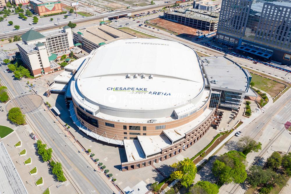Chesapeake Energy Arena in Oklahoma City on Thursday, April 23, 2020. The arena is home to the NBA Oklahoma City Thunder basketball team. Photo copyright © 2020 Alonzo J. Adams - Alonzo Adams Photography