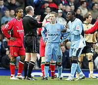 Photo: Paul Thomas. Coventry City v Cardiff City, Highfield Road, Coventry,  Coca Cola Chamionship. 12/03/2005. Dele Adebola and Gary McSheffrey can't believe referee Lee Manson hasn't given them a penalty in the Cardiff box.