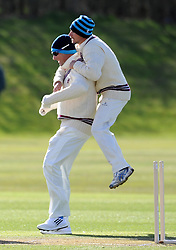 Somerset's Marcus Trescothick celebrates a wicket with Somerset's Alex Barrow - Photo mandatory by-line: Harry Trump/JMP - Mobile: 07966 386802 - 24/03/15 - SPORT - CRICKET - Pre Season Fixture - Day 2 - Somerset v Glamorgan - Taunton Vale Cricket Club, Somerset, England.