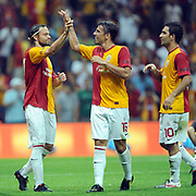 Galatasaray's Milan BAROS (C) celebrate his goal with team mate during their Friendly soccer match Galatasaray between Liverpool at the TT Arena at Arslantepe in Istanbul Turkey on Saturday 28 July 2011. Photo by TURKPIX