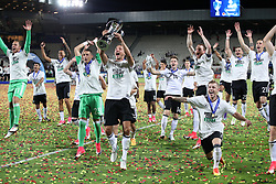 Germany's Niklas Stark and teammates celebrate with the UEFA European Under-21 Championship Trophy