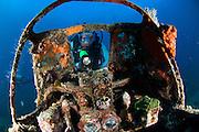 Cockpit of a Mitsubishi Zero fighter plane wreck, Kimbe Bay