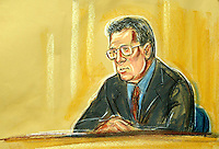 ©PRISCILLA COLEMAN (ITV) 02.09.03.ARTWORK SHOWS: PROFESSOR HAWTON AT THE HIGH COURT TODAY, WHERE HE APPEARED AS A WITNESS IN THE HUTTON INQUIRY INTO THE DEATH OF DR DAVID KELLY..ARTWORK BY: PRISCILLA COLEMAN (ITV)
