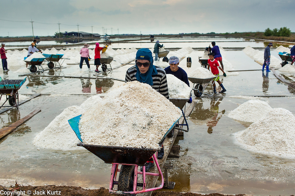 24 APRIL 2013 - SAMUT SONGKHRAM, SAMUT SONGKHRAM, THAILAND:   Salt harvesters move salt to an area where it will be bagged and weighed in Samut Songkhram, Thailand. The 2013 salt harvest in Thailand and Cambodia has been impacted by unseasonably heavy rains. Normally, the salt fields are prepped for in December, January and February, when they're leveled and flooded with sea water. Salt is harvested from the fields from late February through May, as the water evaporates leaving salt behind. This year rains in December and January limited access to the fields and rain again in March and April has reduced the amount of salt available in the fields. Thai salt farmers are finishing the harvest as best they can, but the harvest in neighboring Cambodia ended 6 weeks early because of rain. Salt has traditionally been harvested in tidal basins along the coast southwest of Bangkok but industrial development in the area has reduced the amount of land available for commercial salt production and now salt is mainly harvested in a small part of Samut Songkhram province.    PHOTO BY JACK KURTZ