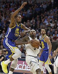 October 21, 2018 - Denver, Colorado, U.S - Nuggets TORREY CRAIG, center, looks to shoot at the basket with Warriors KEVIN DURANT, left, closing in from behind during the 2nd. Half at the Pepsi Center Sunday night. The Nuggets beat the Warriors 100-98. (Credit Image: © Hector Acevedo/ZUMA Wire)