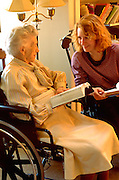 Minister age 36 discussing the bible with elder age 87.  WesternSprings Illinois USA