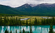 Canadian Rockies, Banff National Park, Alberta, river, flatlands and mountains