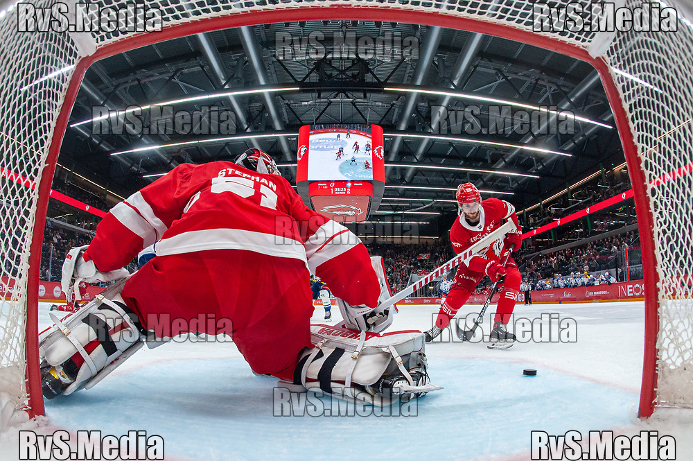LAUSANNE, SWITZERLAND - OCTOBER 01: Andrea Glauser #96 of Lausanne HC in action during the Swiss National League game between Lausanne HC and ZSC Lions at Vaudoise Arena on October 1, 2021 in Lausanne, Switzerland. (Photo by Monika Majer/RvS.Media)