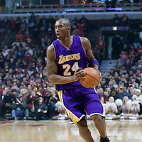 15 December 2009: Los Angeles Lakers guard Kobe Bryant brings the ball upcourt during the Los Angeles Lakers 96-87 victory over the Chicago Bulls at the United Center, in Chicago, Illinois, USA.