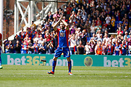 Crystal Palace midfielder Yohan Cabaye applauds fans as he gets substituted during the Premier League match between Crystal Palace and Hull City at Selhurst Park, London, England on 14 May 2017. Photo by Andy Walter.