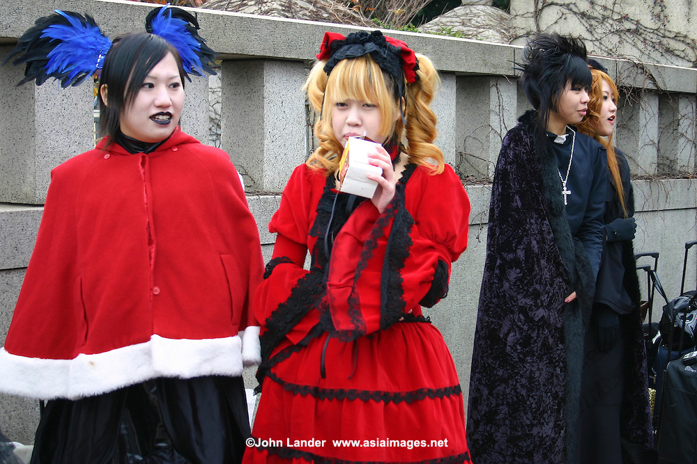 """A wide variety of """"costume play"""" getups  from Japanese manga, anime,  imitations of favorite pop stars or combinations in between can be witnessed very Sunday in Harajuku, Tokyo's fashion quarter. Casual observers believe that cosplay is a reaction to  rigid rules of Japanese society but since so many cosplayers congregate in Aoyama - Tokyo headquarters of world class designers Fendi, Hanae Mori and Issey Miyake, it is considered a reaction to high fashion. Whatever the reason cosplay aficionados put a tremendous amount of effort into their costumes every Sunday. You can't help but wonder what they wear on Monday morning.."""