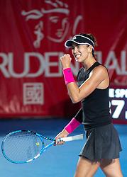 October 12, 2018 - Hong Kong, Hong Kong SAR, China - Garbiñe Muguruza (pictured) of Spain beats Luksika Kumkhum of Thailand to proceed to the semi-finals of the Hong Kong Tennis Open in Victoria Park Hong Kong. Muguruza took 2 sets 6-2,7-5 to win in 1 hour 45 mins. (Credit Image: © Jayne Russell/ZUMA Wire)