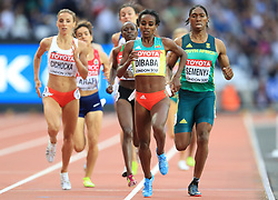 Ethiopia's Genzebe Dibaba (second right) wins the Women's 1500m heat one during day one of the 2017 IAAF World Championships at the London Stadium.