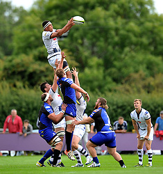 Ben Glynn (Bristol) wins lineout ball - Photo mandatory by-line: Patrick Khachfe/JMP - Mobile: 07966 386802 17/08/2014 - SPORT - RUGBY UNION - Bristol - Clifton Rugby Club - Bristol Rugby v Newport Gwent Dragons - Pre-Season Friendly