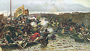 Beginning of conquest of Siberia. Cossacks under Jermak Timofejew attacking army of Khan Kutschuma on the River Irtysch 1580. Oleograph c1900.