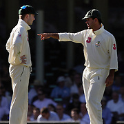 Australian captain Ricky Ponting (right) with Vice Captain Michale Clarke during day four of the third test match between Australia and South Africa at the Sydney Cricket Ground on January 6, 2009 in Sydney, Australia. Photo Tim Clayton