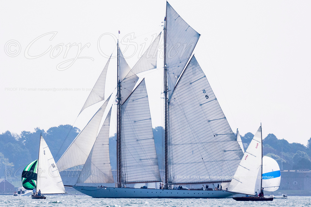 Vindex, Eleonora, and Lady Luck sailing in the Panerai Newport Classic Yacht Regatta, day two.