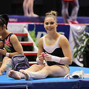 Olympic gymnast McKayla Maroney, during a final training session before the start of The 2013 P&G Gymnastics Championships, USA Gymnastics' national championships which runs from Thursday until Sunday at the XL, Centre, Hartford, Connecticut.<br /> The event features gymnasts in both the junior and senior divisions. Performances will determine all-around and individual event national champions, as well as the national team for the junior and senior elite levels. Hartford, Connecticut, USA. 14th August 2013. Photo Tim Clayton
