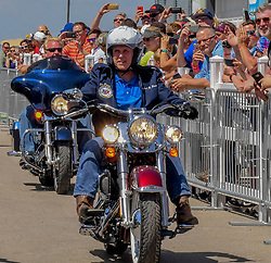 June 3, 2017 - Boone, Iowa, U.S - United States Republican Vice President Mike Pence rides a Harley Daividson motorcycle into Senator Joni Ernst's 3rd annual Roast and Ride charilty benefit at the Central Iowa Expro center in Boone Iowa, 3rd June, 2017. (Credit Image: © Mark Reinstein via ZUMA Wire)