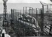 French navy dreadnought-type first-class battleship 'Normandie' under construction in the AC de la Loire shipyard, St Nazaire. Launched October 1914, scrapped 1924-1925.