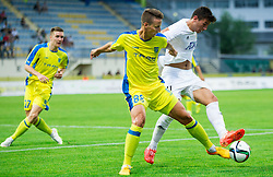 Uros Korun of Domzale vs Andrija Pavlovic of Cukaricki during 1st Leg football match between NK Domzale (SLO) na FC Cukaricki (SRB) in 1st Round of Europe League 2015/2016 Qualifications, on July 2, 2015 in Sports park Domzale,  Slovenia. Photo by Vid Ponikvar / Sportida