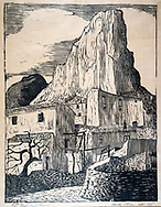 Woodcut by Mick Allen of French rural scene with village buildings and hillside