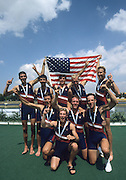 Zagreb, CROATIA. USA LM8+,  celebrate after the medal presentation, LM8+  .Bow, MILLER  Erik,  .2. MACK .David, 3. FEDYNA Bill  4. WINKLER Gabe, 5. CASHMAN , 6. SCHWARTZ , 7. MACLAURIN .Angus, stroke, WARNER Steve, cox, FIEN-HELFMAN .Joshua  2000 FISA World Rowing Junior & Non-Olympic Seniors Championships   [Mandatory Credit Peter Spurrier/Intersport Images]