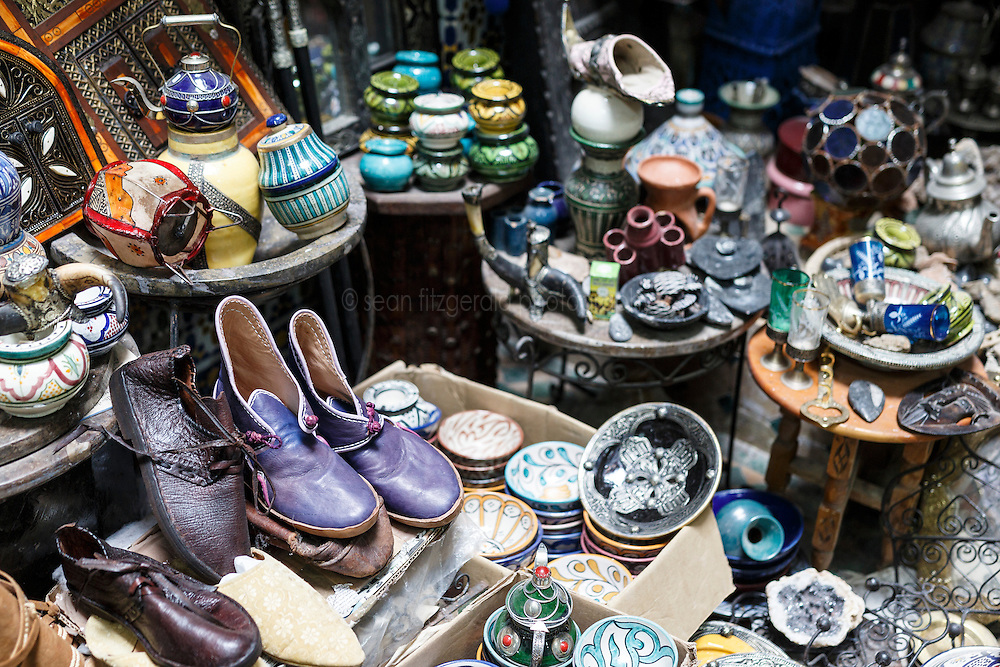 Still-life of goods for sale in merchant's shop, Chefchaouen, Morocco