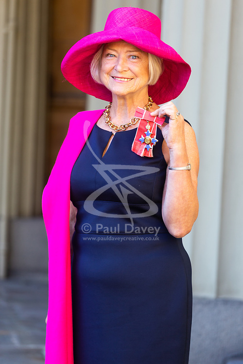 Broadcaster and journalist Kate Adie with her OBE for services to Media at an investiture by Her Majesty The Queen at Buckingham Palace in London. London, October 11 2018.