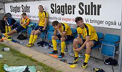 Dybt skuffede spillere fra Hobro efter kampen i 3F Superligaen mellem Lyngby Boldklub og Hobro IK den 20. juli 2020 på Lyngby Stadion (Foto: Claus Birch).