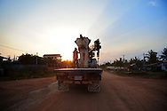 Concrete elephant statue transported on a truck in Kep, Cambodia, Asia