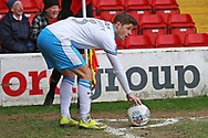 Josh Doherty takes a corner during the EFL Sky Bet League 2 match between Walsall and Crawley Town at the Banks's Stadium, Walsall, England on 18 January 2020.