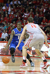 02 January 2013:  Austin Chatman looks for a way past Nick Ziesloft during an NCAA Missouri Vally Conference (MVC) mens basketball game between the Creighton University Bluejays and the Illinois State Redbirds in Redbird Arena, Normal IL