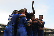 Danny Ward of Cardiff City ©  is mobbed by his team mates as they celebrate after he scores his team's first goal. EFL Skybet football league championship match, Fulham v Cardiff city at Craven Cottage in London on Saturday 9th September 2017.<br /> pic by Steffan Bowen, Andrew Orchard sports photography.
