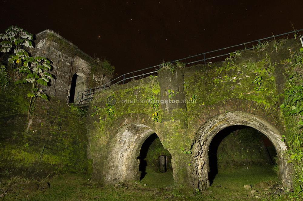 Low angle night view of Fort San Lorenzo near Colon, Panama.
