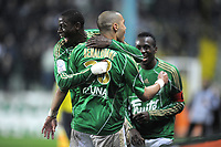 FOOTBALL - FRENCH CHAMPIONSHIP 2009/2010 - L1 - AS SAINT ETIENNE v LE MANS UC - 3/04/2010 - PHOTO JEAN MARIE HERVIO / DPPI - JOY ST-ETIENNE AFTER 2ND GOAL