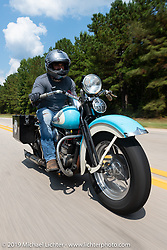 Chris Salisbury with Legends Motorcycle Museum (Springville, UT) riding a 1939 Harley-Davidson Knucklehead during the Cross Country Chase motorcycle endurance run from Sault Sainte Marie, MI to Key West, FL. (for vintage bikes from 1930-1948). Stage-6 from Chattanooga, TN to Macon, GA USA covered 258 miles. Wednesday, September 11, 2019. Photography ©2019 Michael Lichter.