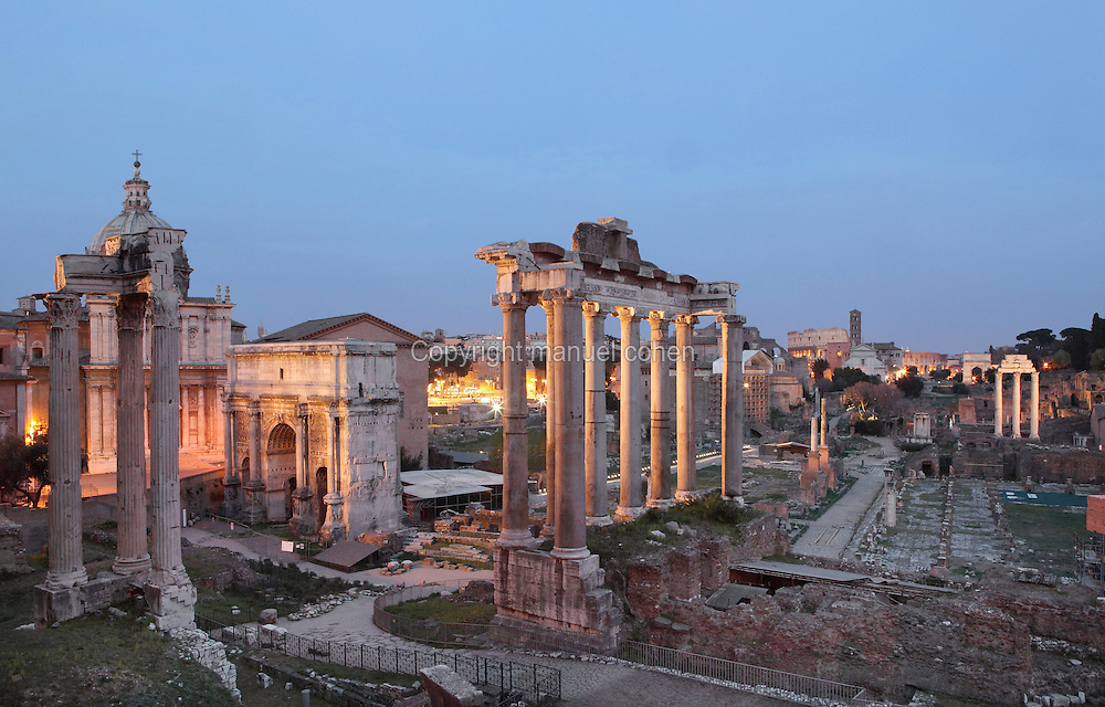 Temple of Vespasian (81 AD), Temple of Saturn (497 BC), Arch of Septimus Severus (203 AD), on the left, Temple of Castor and Pollux (484 BC), Arch of Titus and Colosseum in the distance (right), Roman Forum, Rome, Italy. Picture by Manuel Cohen
