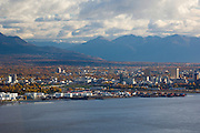 Anchorage the largest city in Alaska on the shores of Cook Inlet overlooking the Alaska and Chugach mountain ranges has a population of 275,000 people, 000 people