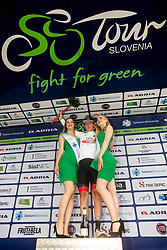 Tadej Pogacar (SLO) of UAE Team Emirates celebrates in White jersey as best young rider at trophy ceremony after the 4th Stage of 26th Tour of Slovenia 2019 cycling race between Nova Gorica and Ajdovscina (153,9 km), on June 22, 2019 in Slovenia. Photo by Vid Ponikvar / Sportida