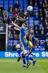 March 23, 2019 - Meadow, Shropshire, United Kingdom - Nathan Thompson of Portsmouth FC jumps higher than Luke Waterfall of Shrewsbury Town to meet the ball during the Sky Bet League 1 match between Shrewsbury Town and Portsmouth at Greenhous Meadow, Shrewsbury on Saturday 23rd March 2019. (Credit Image: © Mi News/NurPhoto via ZUMA Press)