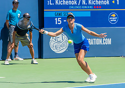 August 5, 2018 - San Jose, CA, U.S. - SAN JOSE, CA - AUGUST 05: Kveta Peschke (CZE) returns a serve during the WTA Doubles Championship match at the Mubadala Silicon Valley Classic on the San Jose State University Stadium Court in San Jose, CA  on Sunday, August 5, 2018. (Photo by Douglas Stringer/Icon Sportswire) (Credit Image: © Douglas Stringer/Icon SMI via ZUMA Press)