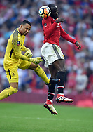 Romelu Lukaku of Manchester United is challenged by Tottenham Hotspur goalkeeper Michel Vorm during the FA cup semi-final match at Wembley Stadium, London. Picture date 21st April, 2018. Picture credit should read: Robin Parker/Sportimage