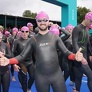 London, England, UK. 16th September 2017. Hundreds takes part Swim Serpentine the 2 mile Pink Wave 5 at Serpentine lake.