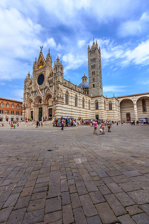 Siena Cathedral in Siena, Italy. The cathedral itself was originally designed and completed between 1215 and 1263 on the site of an earlier structure.